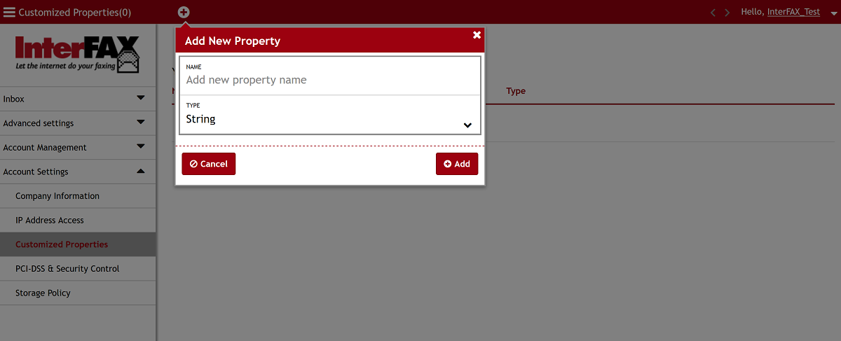 Add Property Window