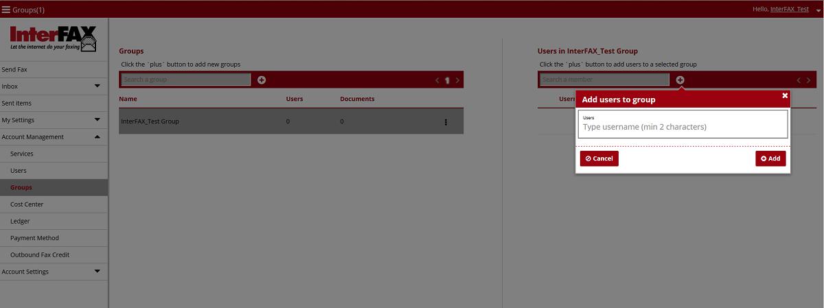 Add User to Group Window