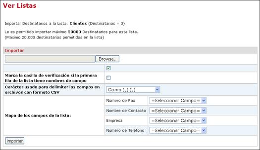 Panel de Control de InterFAX - como crear listas