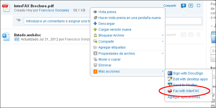 Box - Enviar fax desde Box con InterFAX